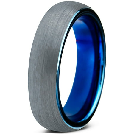 4 Mm Round Ring - Tungsten Wedding Band Ring 4mm for Men Women Comfort Fit Blue Round Domed Brushed Lifetime Guarantee