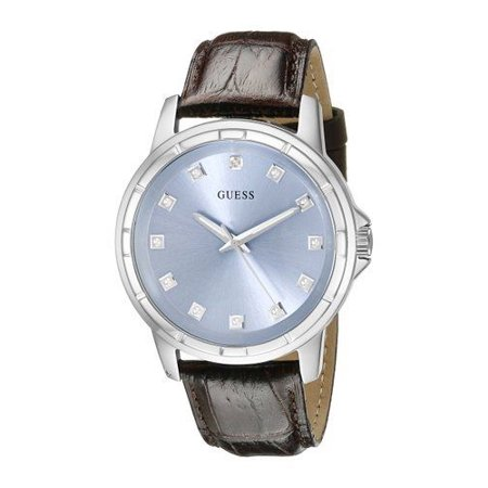 Guess Men's U0519G2 Classic Stainless Steel Watch with Ice Blue Diamond Dial & Brown Croco-Like Genuine Leather Strap Guess Brown Leather Strap