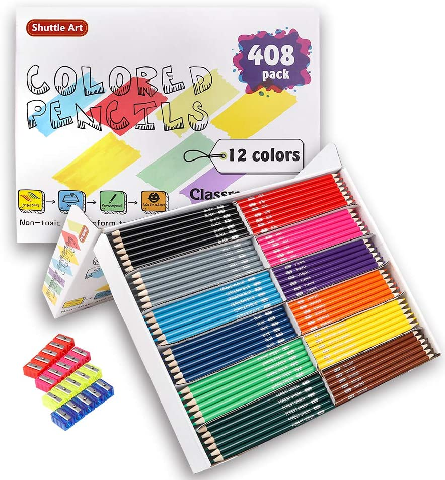 Shuttle Art Soft Core Coloring Pencils Set with 4 Sharpeners Professional Color Pencils for Artists Kids Adults Coloring Sketching and Drawing 180 Colored Pencils