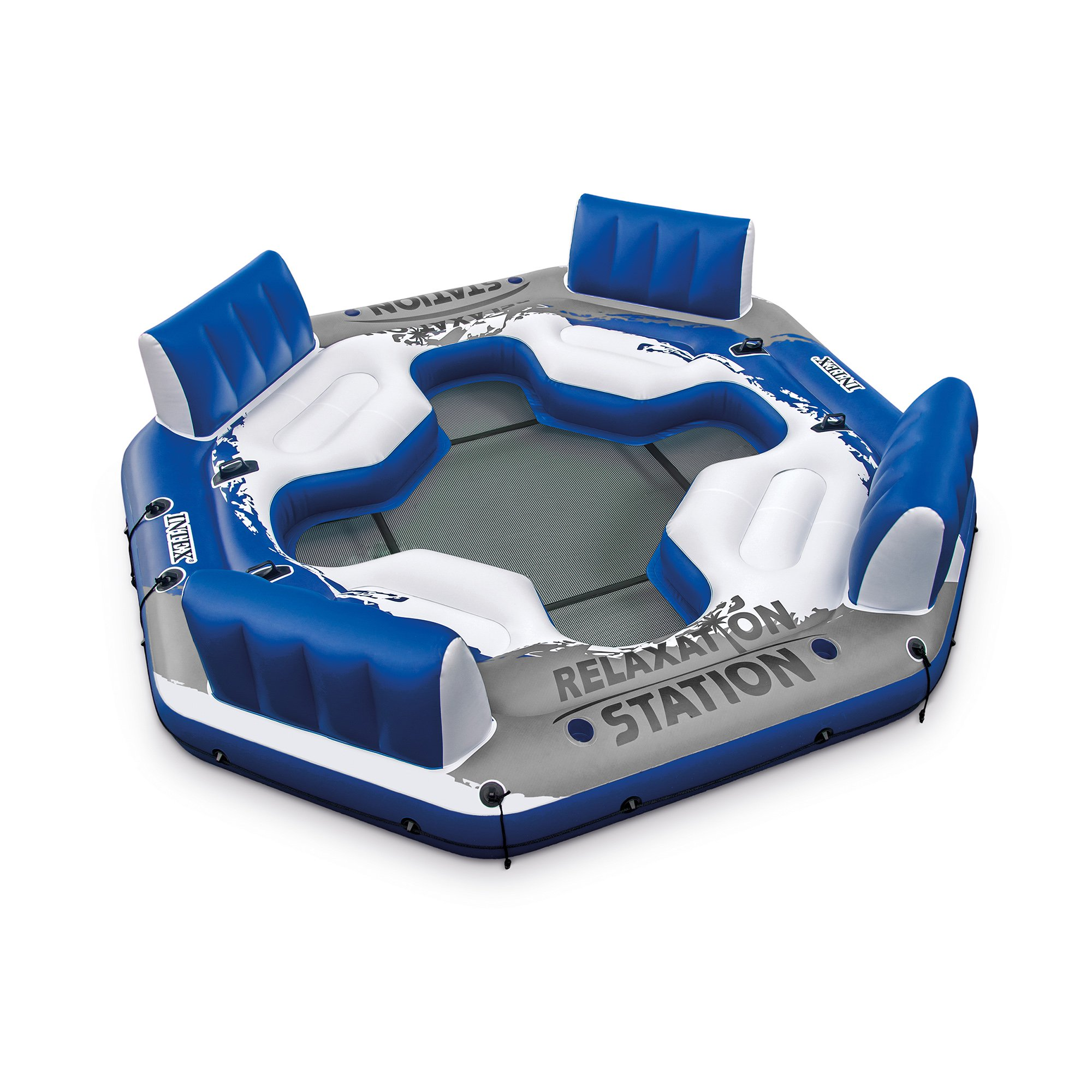 Intex Inflatable Pacific Paradise 4-Person Relaxation Station Lounge Lake Raft