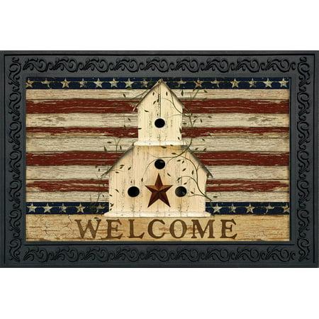 Americana Welcome Doormat Patriotic Primitive Birdhouse Indoor Outdoor 18