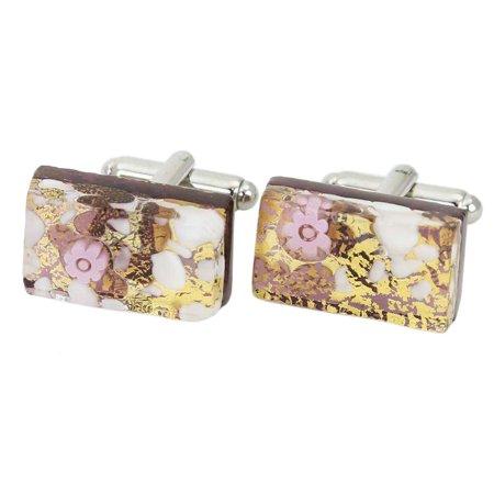 GlassOfVenice Murano Glass Venetian Classic Rectangular Cufflinks - Purple Gold