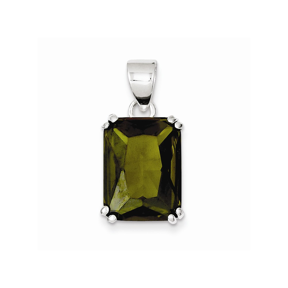 Sterling Silver Rectangle Green CZ Pendant