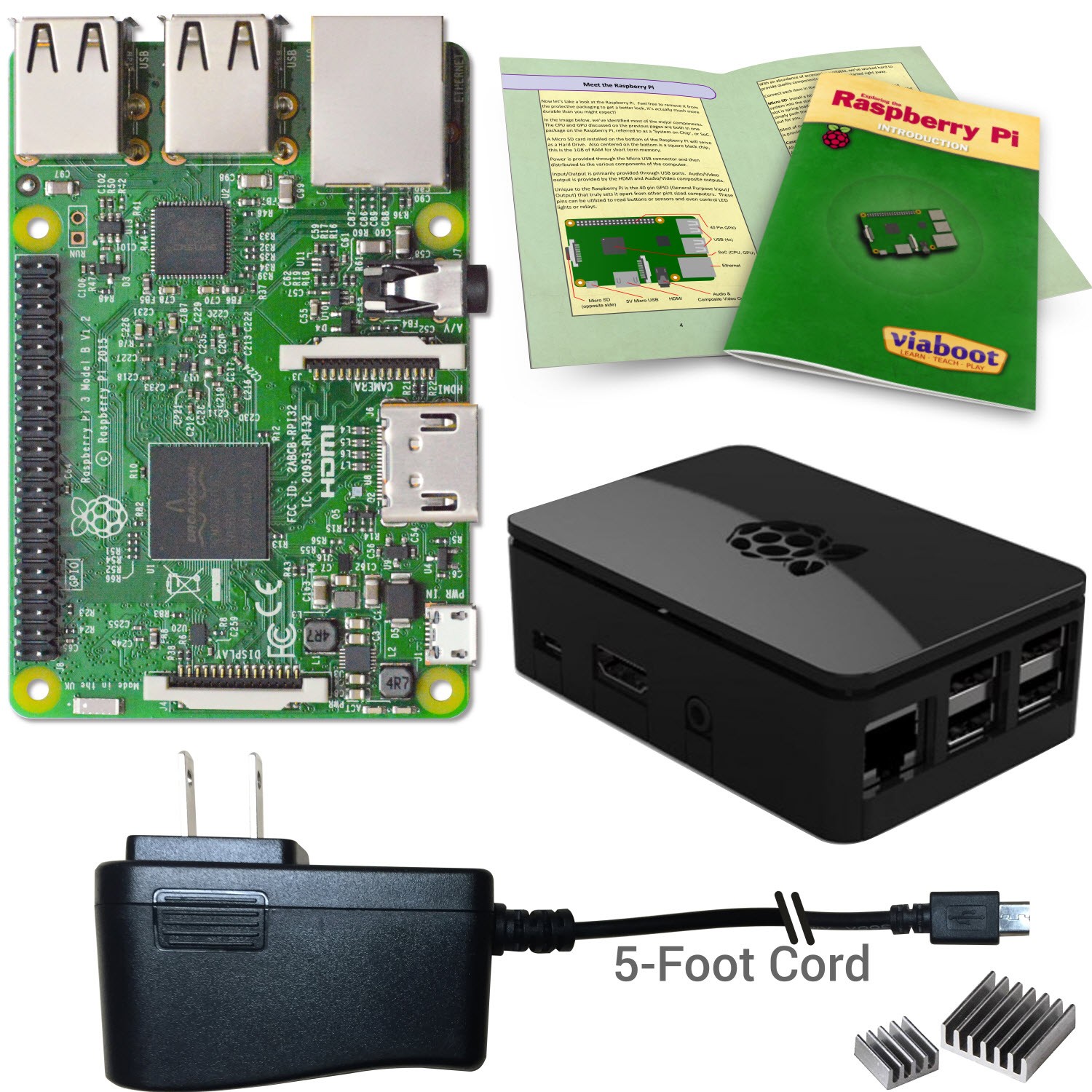 Viaboot Raspberry Pi 3 Power Kit with Premium Black Case