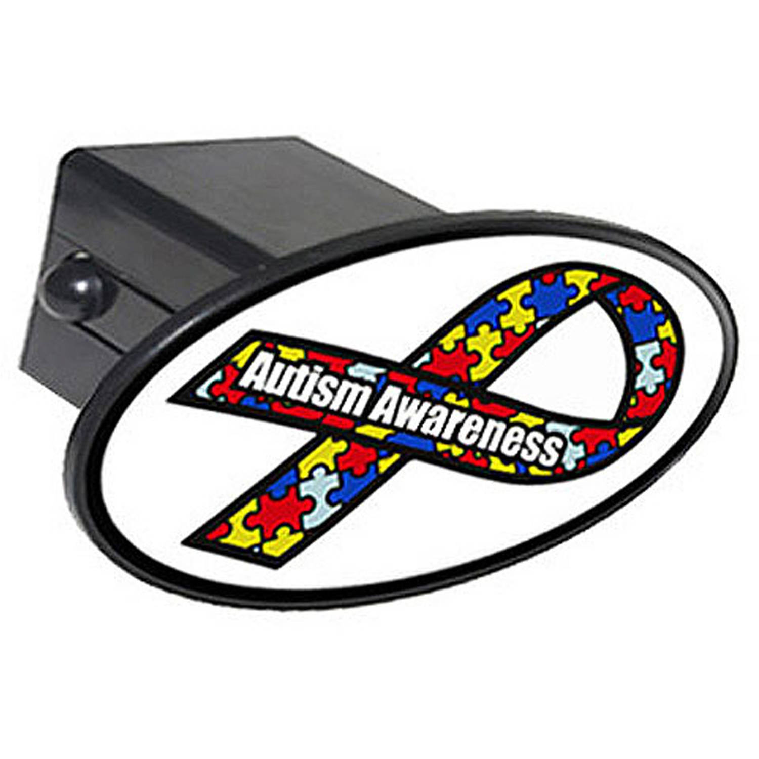 "Autism Awareness Ribbon 2"" Oval Tow Trailer Hitch Cover Plug Insert"