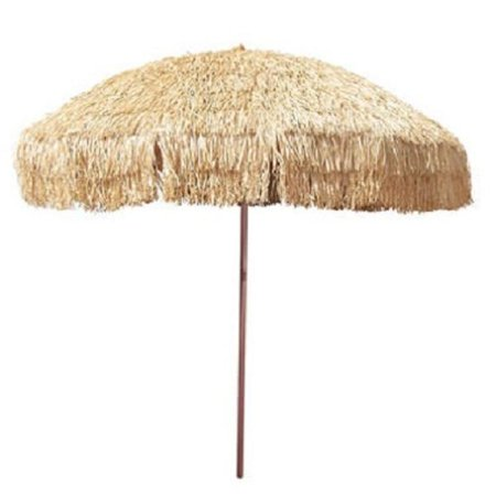 8' Hula Umbrella Thatched Tiki Patio Umbrella Natural Color 8 Foot Diameter Tropical Look Aluminum Pole 16 Fiberglass Ribs - Tiki Umbrellas