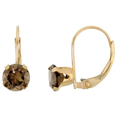 10k Yellow Gold Natural Smoky Topaz Leverback Earrings 6mm Brilliant Cut, 9/16 inch tall