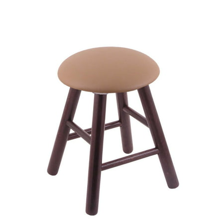 Holland Oak Vanity Stool with Faux Leather Seat
