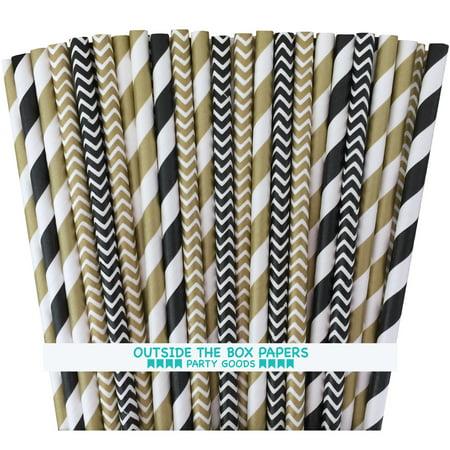 Black and Gold Stripe, Chevron Paper Straws  100 Pack