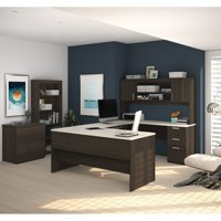 Ridgeley U-shaped Desk with lateral file and bookcase in Dark Chocolate & White Chocolate