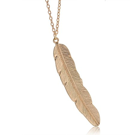 Simple Style Metal Leaf Feather Design Pendant Sweaters Long Necklace
