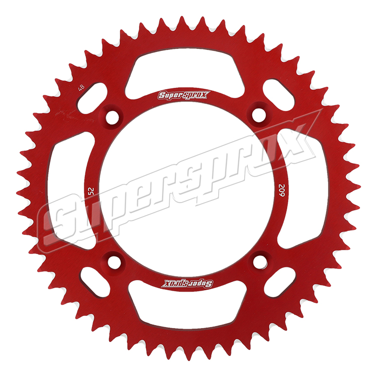 New Supersprox Red Aluminum Sprocket, 52T, Chain Size 420, Ral-209-52-Red