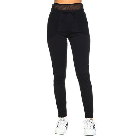 1fd584dfdb GENx - Womens Mesh High Waist Elastic Workout Gym Leggings Pants YP-652-S /  M-Black - Walmart.com