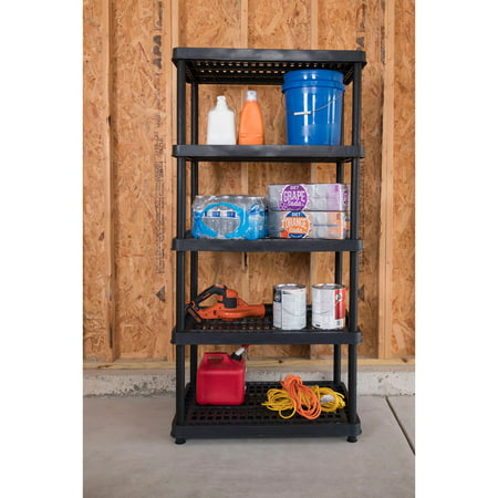 Keter 24-in. 5-Tier Ventilated Shelving Unit, Resin Storage Shelf, Black ()