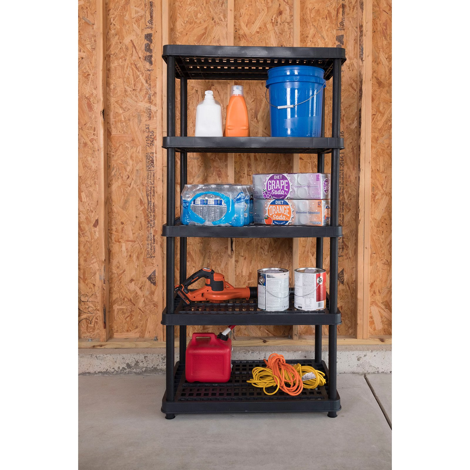 Keter 24-in. 5-Tier Ventilated Shelving Unit, Resin Storage Shelf, Black