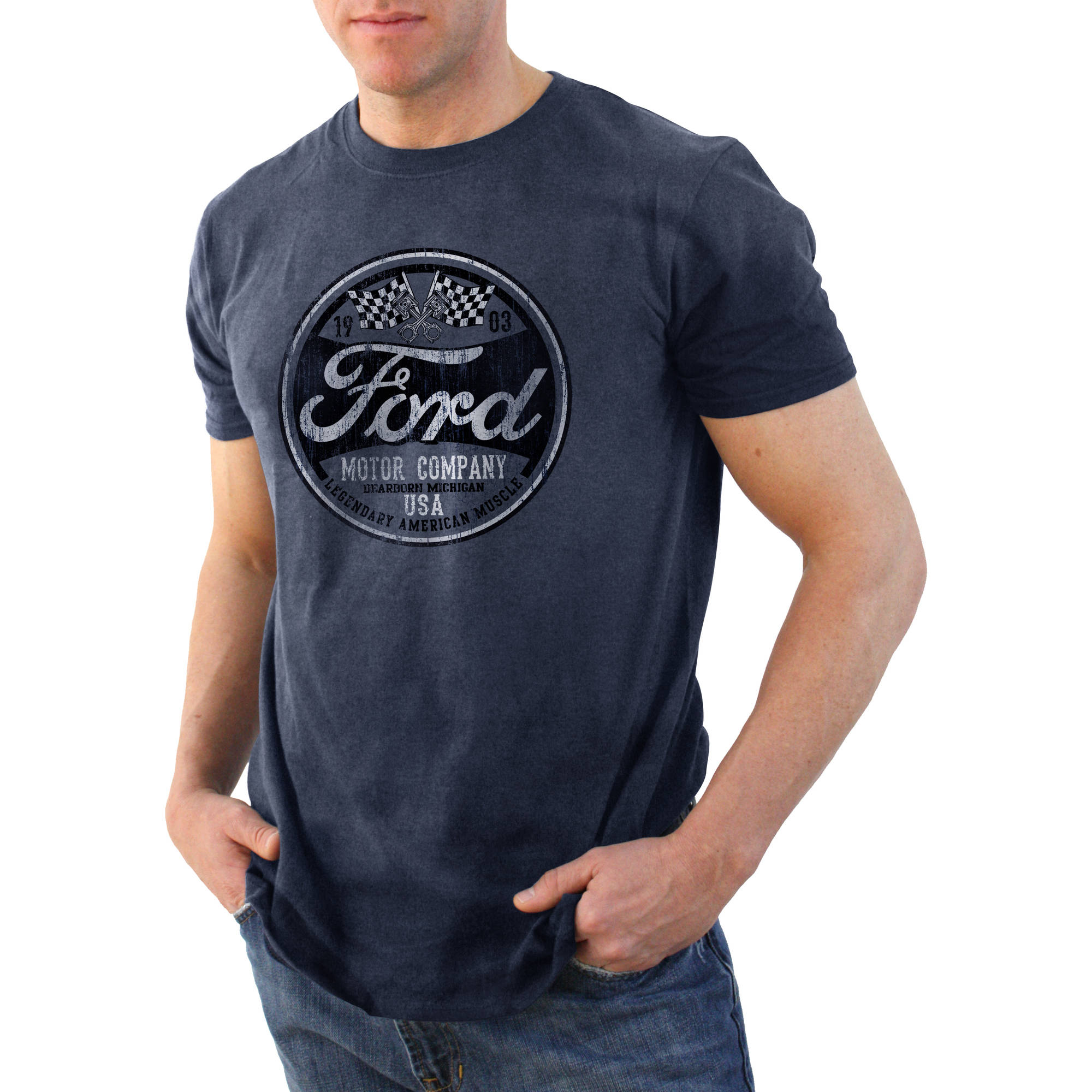 Ford racing flags retro Big Men's graphic tee shirt