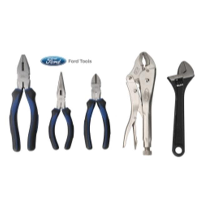 ISN FMCFHT0102 Plier Set With Locking Pliers & Adjustable Wrench - 5 Piece