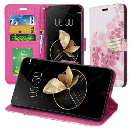 Insten Japanese Cherry Blossom Stand Book-Style Leather [Card Holder Slot] Wallet Pouch Floral Case Cover With Diamond For ZTE Blade Z Max, Pink