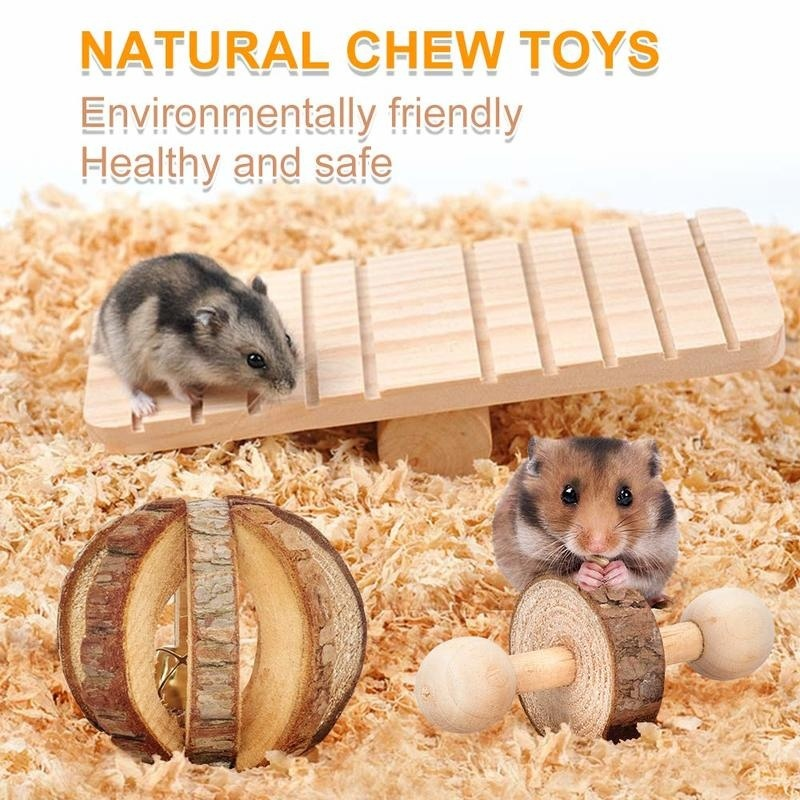 Unicycle,Tree Tube Exercise Bell Roller Teeth Care Molar Toy for Birds Bunny Rabbits Gerbils Dumbbell Bell Roller MQFORU Hamster Chew Toys,7 Pack Natural Bark Watermelon Balls