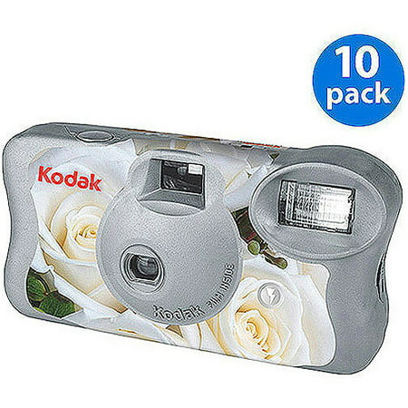 Kodak White Floral 'One-Time Use' Disposable Film Camera w/ Flash (10 Pack) for Wedding, Bridal Shower, Engagement Party
