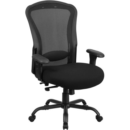 Flash Furniture Hercules Series 24 7 Intensive Use  Multi Shift  Big And Tall 400 Lb Capacity Black Mesh Multi Functional Swivel Chair With Synchro Tilt