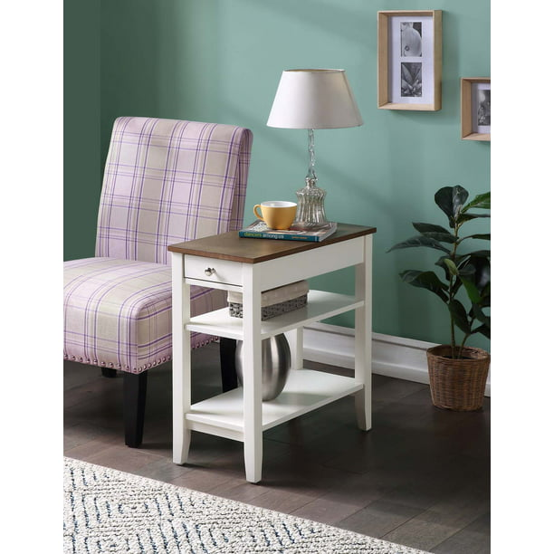 Convenience Concepts American Heritage Three Tier End Table With Drawer Driftwood White Walmart Com Walmart Com