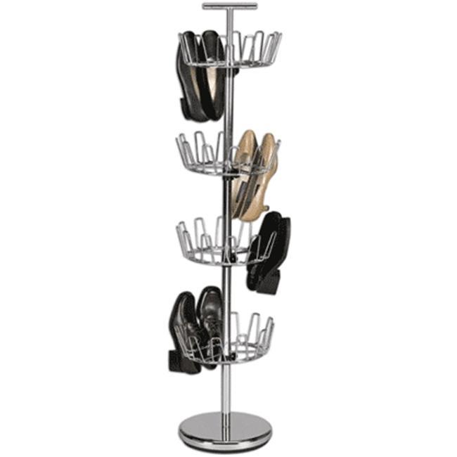 Home Essentials 2134 4-Tier Revolving Shoe Tree Silver Satin