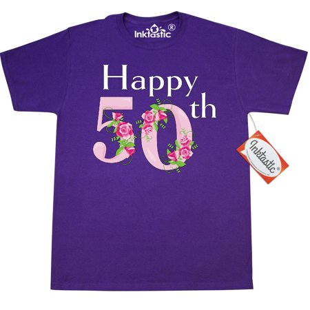 Inktastic Happy 50th Birthday With Roses T-Shirt Birthdays Adult Rose Fifty 50 Fiftieth The Big 5-o Celebrate Party Mens Clothing Apparel Tees T-shirts - 50 Clothes