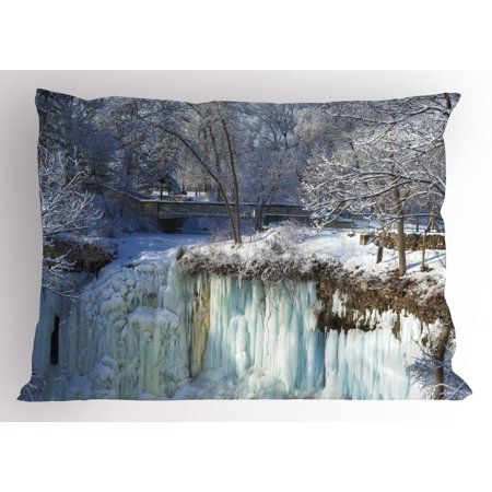 Minnesota Pillow Sham, Frozen Minnehaha Falls and Footbridge in City Park of Minneapolis Landmark Theme, Decorative Standard Queen Size Printed Pillowcase, 30 X 20 Inches, Multicolor, by Ambesonne