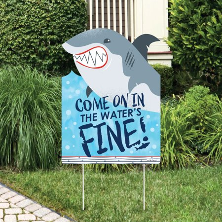 Shark Zone - Shark Week Party Decorations - Jawsome Shark Party or Birthday Party Welcome Yard Sign - Shark Birthday Party Decorations