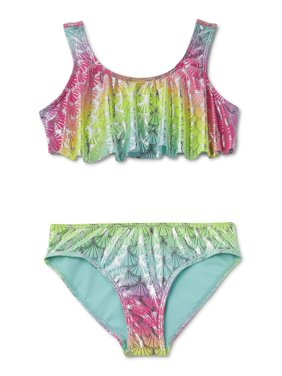 Wonder Nation Girls 4-18 Mermaid Scale Printed Bikini Swimsuit With Upf 50+