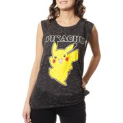 Juniors' Pikachu Graphic Side Tie Drapey Muscle Tank