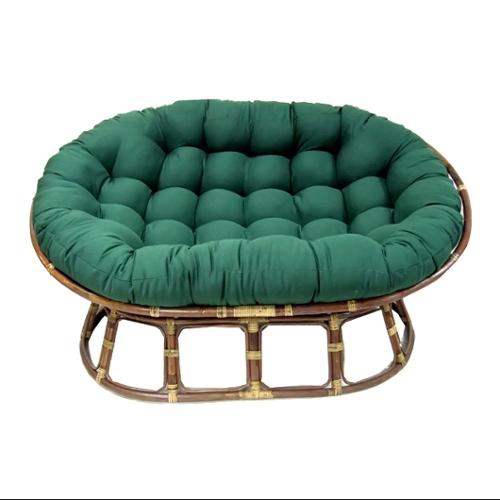 Oval Papasan Cushion w Tufts - Base not Included (Burgundy)