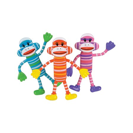Bendable Classic Sock Monkey Toy Party Favor Gift Costume Accessory - Sock Monkey Birthday Party