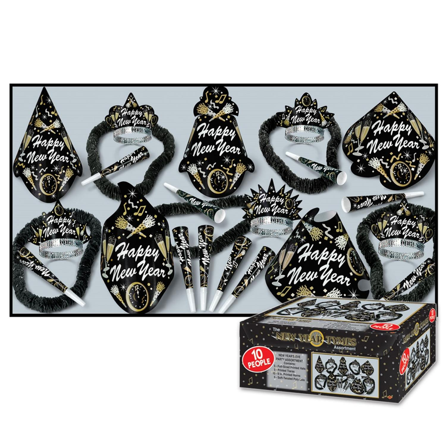 """Club Pack of 10 Gold Tymes """"Happy New Years"""" Legacy Party Favor Hat Kits"""