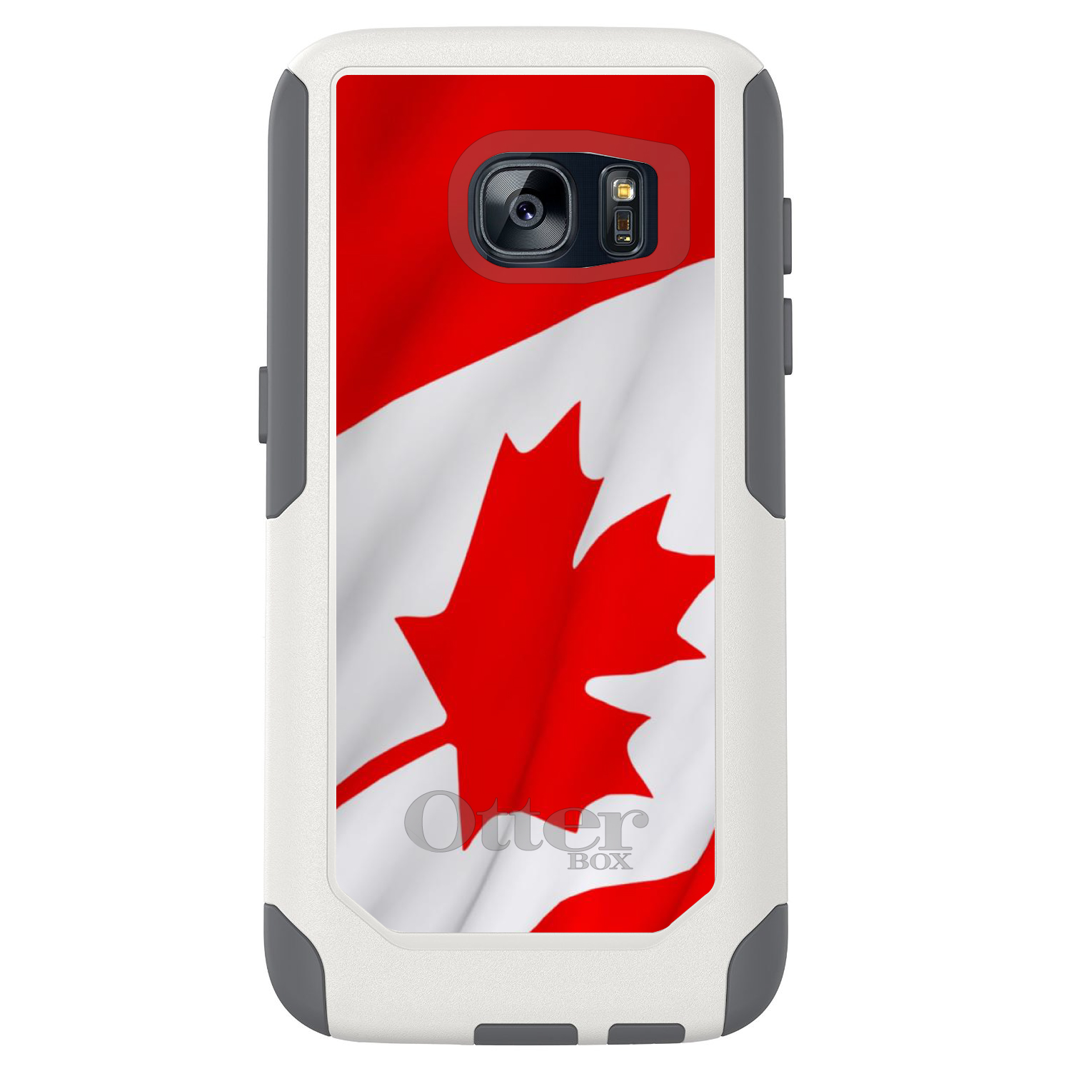 DistinctInk™ Custom White OtterBox Commuter Series Case for Samsung Galaxy S7 - Red White Canadian Flag Canada