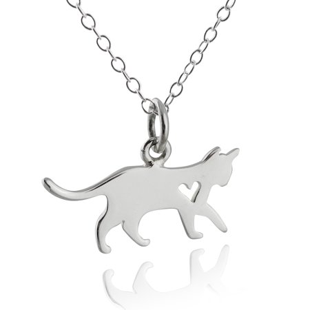 """Sterling Silver Kitty Cat with Heart Cutout Charm Pendant Necklace, 18"""""""