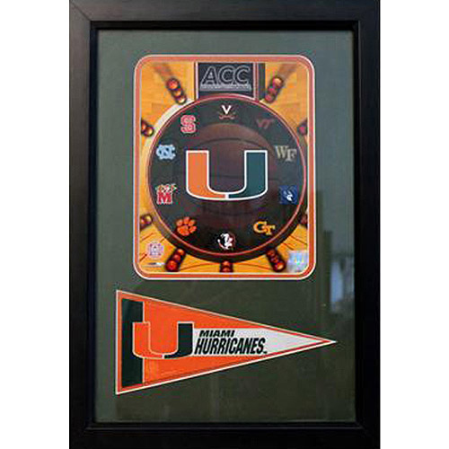 NCAA University of Miami Pennant Frame, 12x18