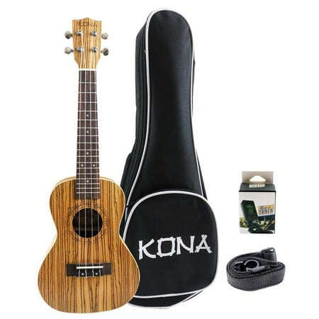 Kona Concert Size Ukulele Zebra Wood with Free Tuner,Strap and Bag