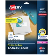 "Avery Print to the Edge Shipping Label 1-1/4""x3-3/4"" 300 Labels (6879)"