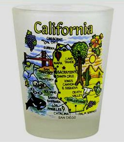 California Frosted Map New Design Shot Glass by World By Shotglass