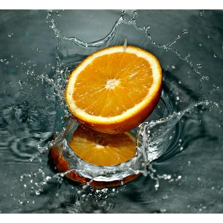 Fruit Splash - Canvas Print Orange Fruit Falling Splash Fresh Water Stretched Canvas 10 x 14