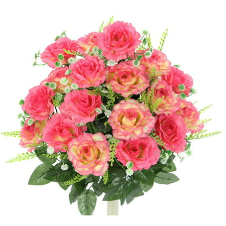 10 Oval Rose (Admired By Nature 18 Stems Artificial Full Blooming Rose with Greenery Flower Bush, Pink )