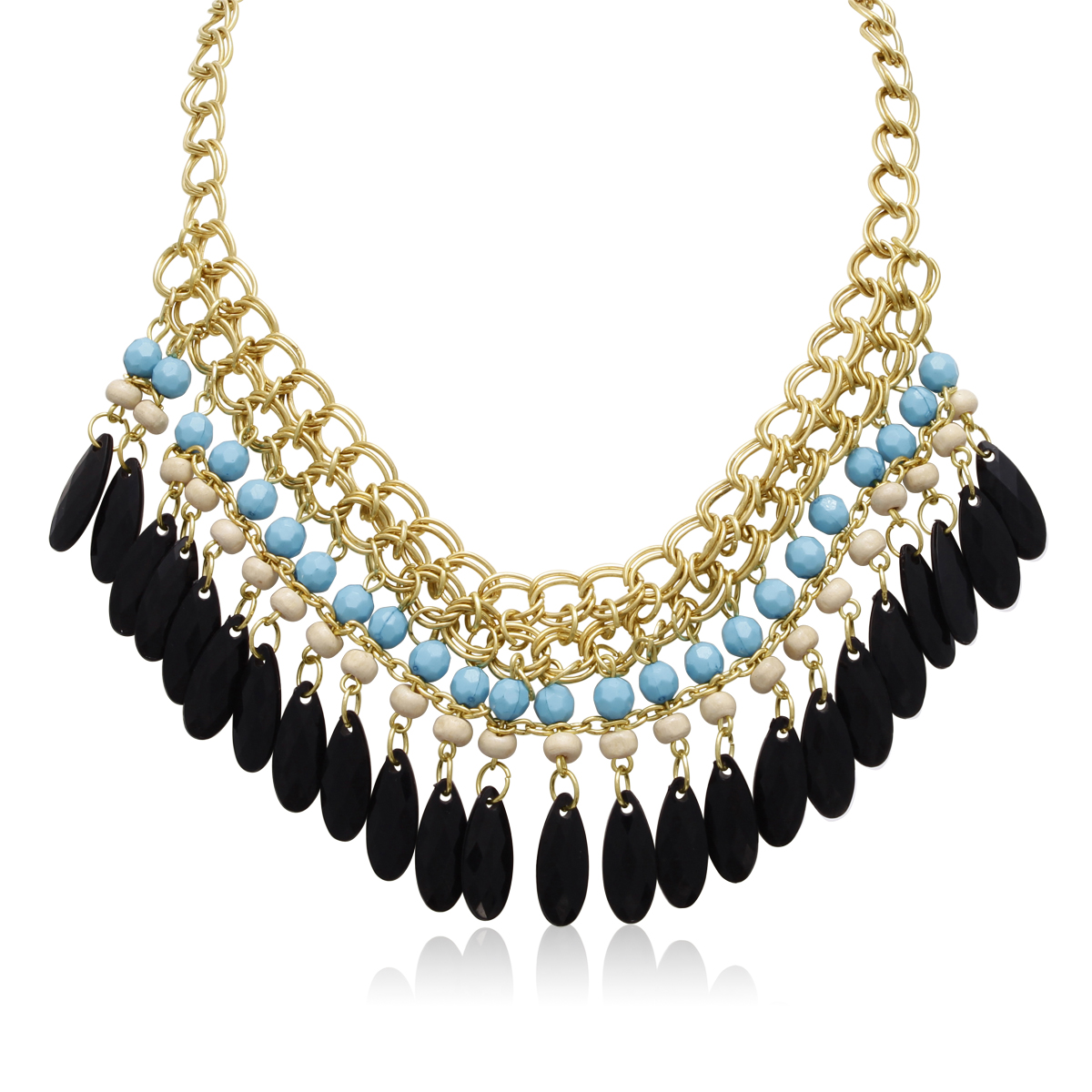Turquoise and Black Onyx Crystal Bib Necklace In Gold Overlay, 16 Inches
