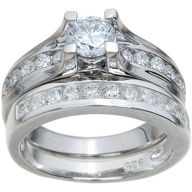 Plutus kkRS6890D Sterling Silver Brilliant Wedding Set, Size 9 - image 1 of 1