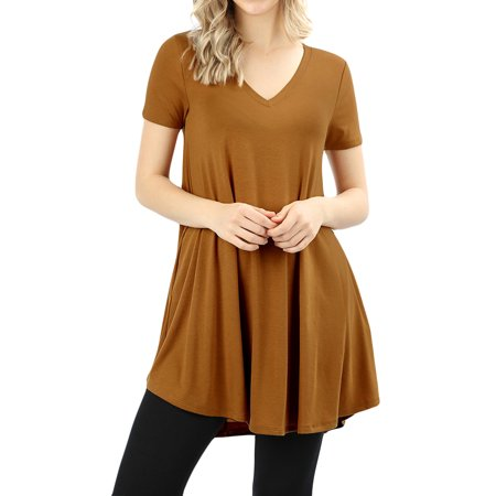 Women V-neck Short Sleeve Round Hem Flowy A-Line Tunic Top with Side Pockets