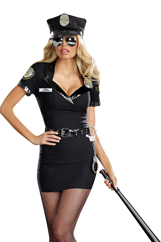 dreamgirl women's dirty cop officer anita bribe costume, black, large