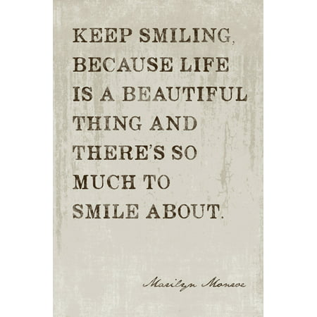 Marilyn Monroe - Keep Smiling, motivational poster (Best Way To Keep Room Smelling Fresh)
