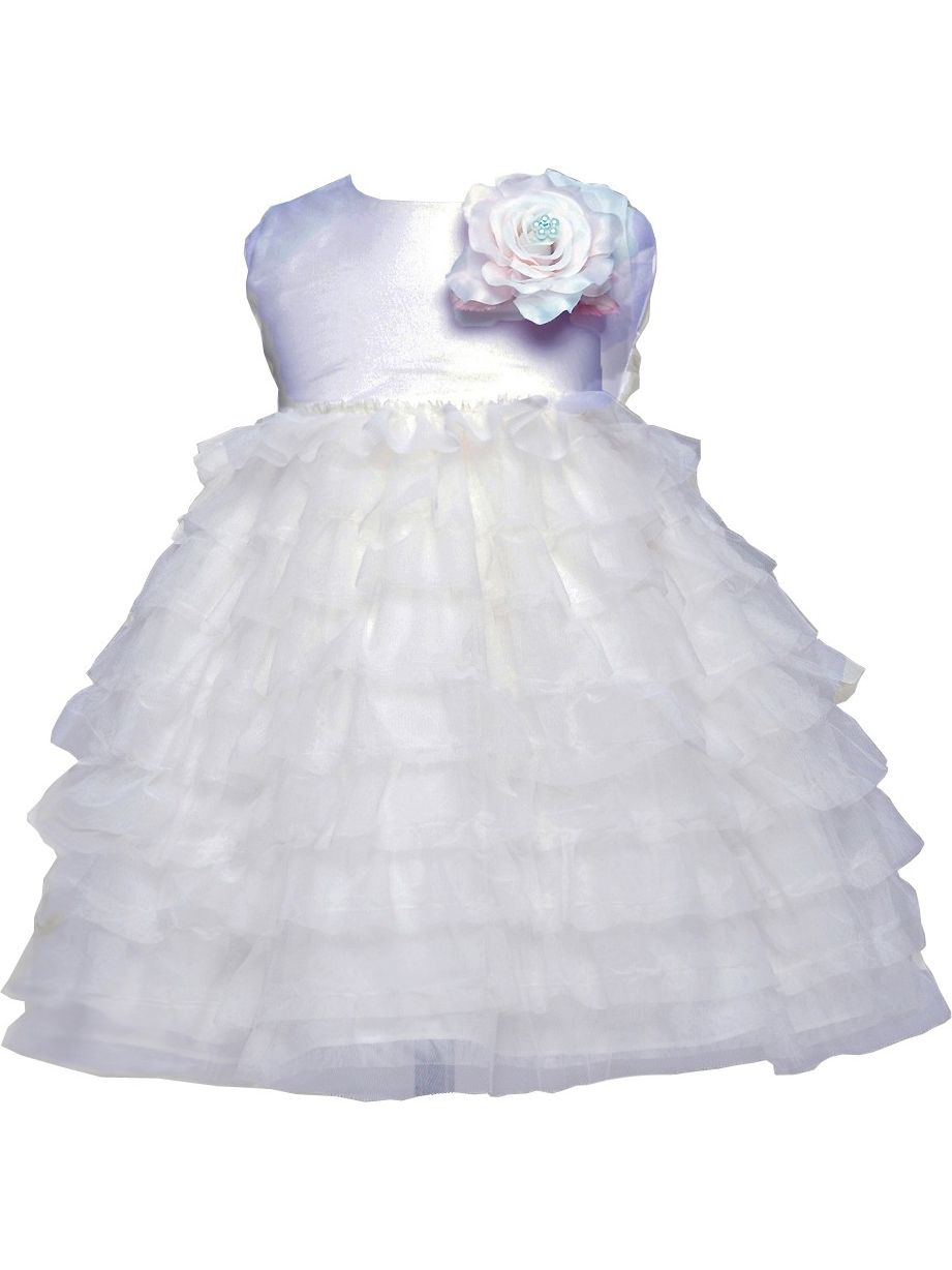 Crayon Kids Baby Girl White Tulle Layer Flower Girl Special Occasion Dress 18M