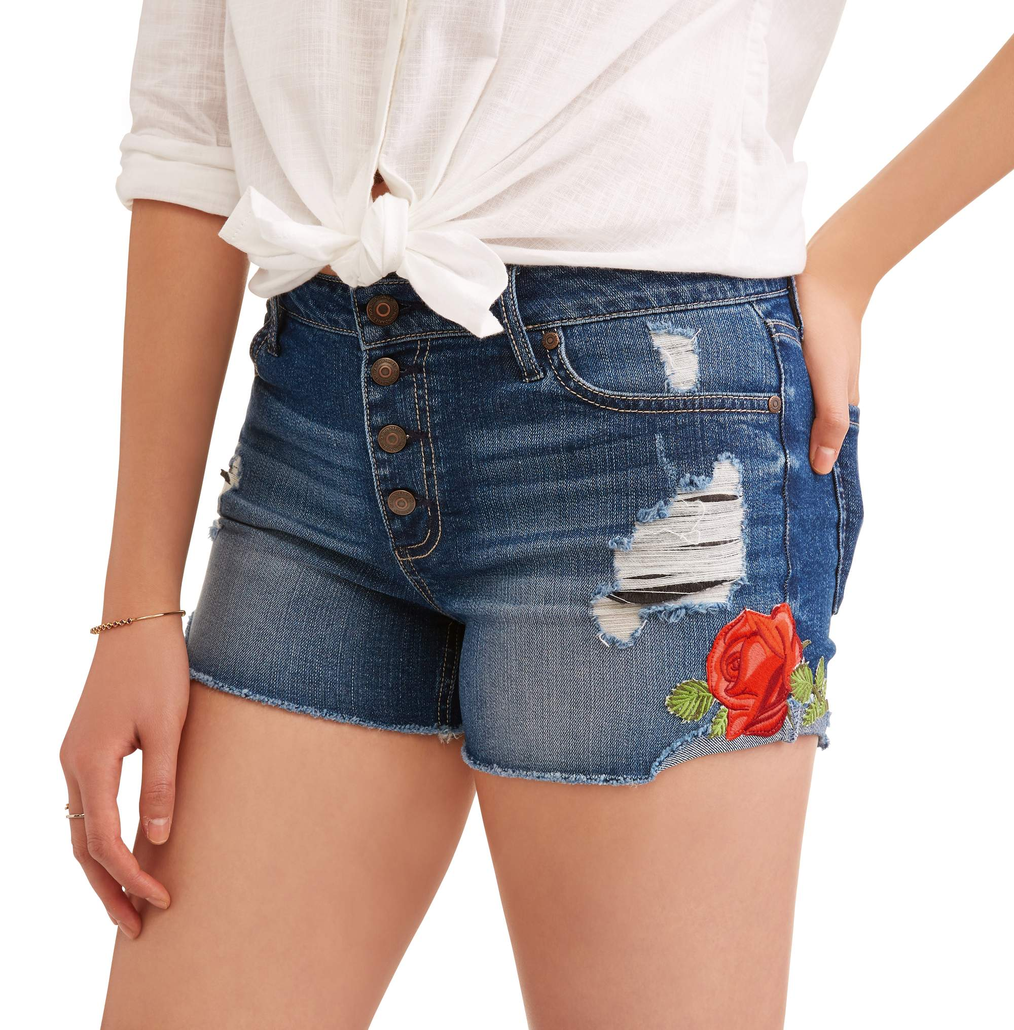 Juniors' Flower Embroidery High Waist Distressed Denim Shorts